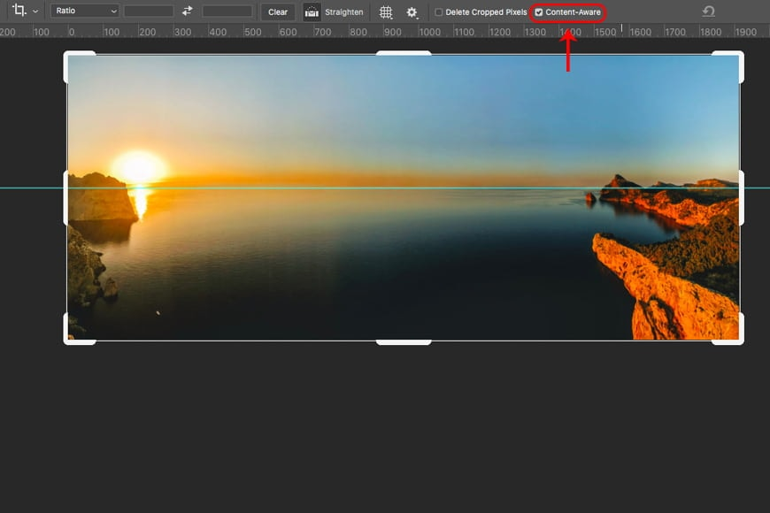 After straightening your image horizontally, you can use the Photoshop Content Aware tool to fill any gaps.