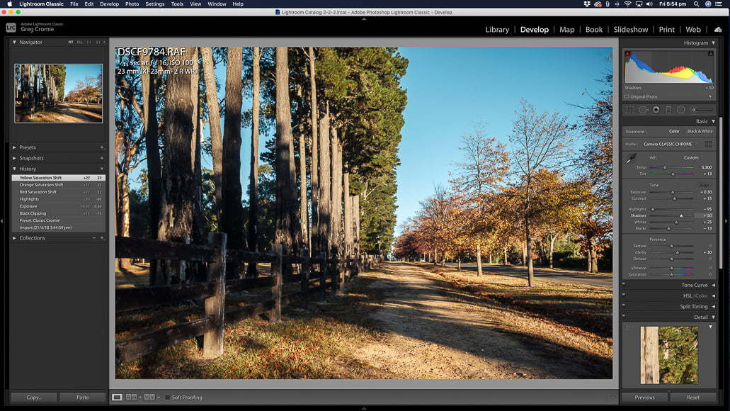 Using Lightroom for constructing timelapses.