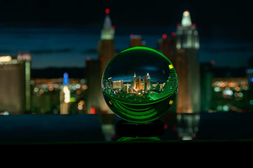 Crystal ball photos bend the horizon line much like a fisheye lens, creating a unique perspective.