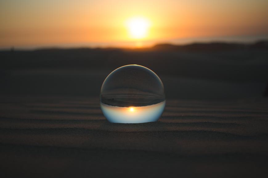 Sunrise captured in a bubble.