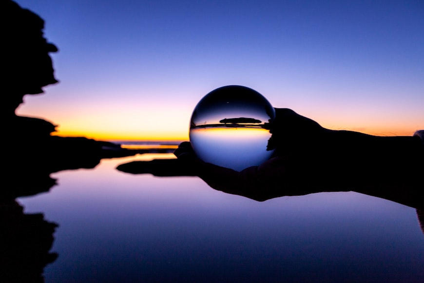Using a lens ball to capture an upside down image of sunset scenes.