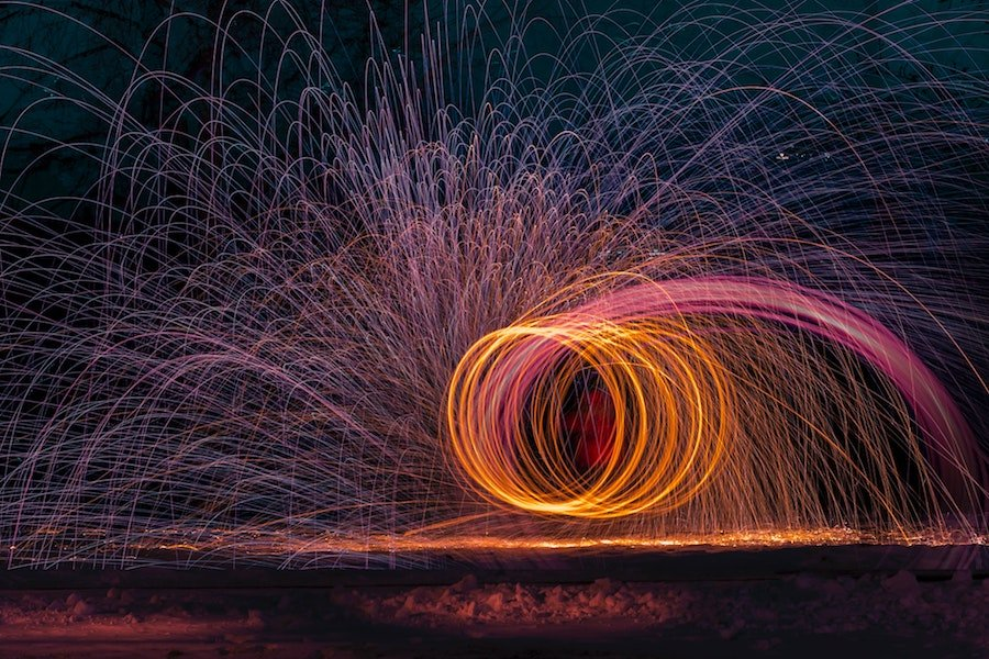 light painting photography using a timer function