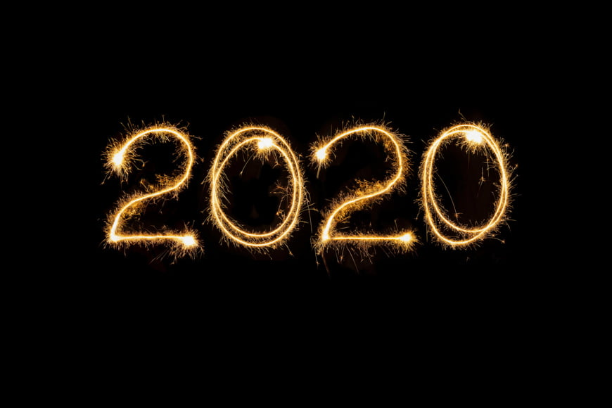 Painting of light as an art form showing the year 2020