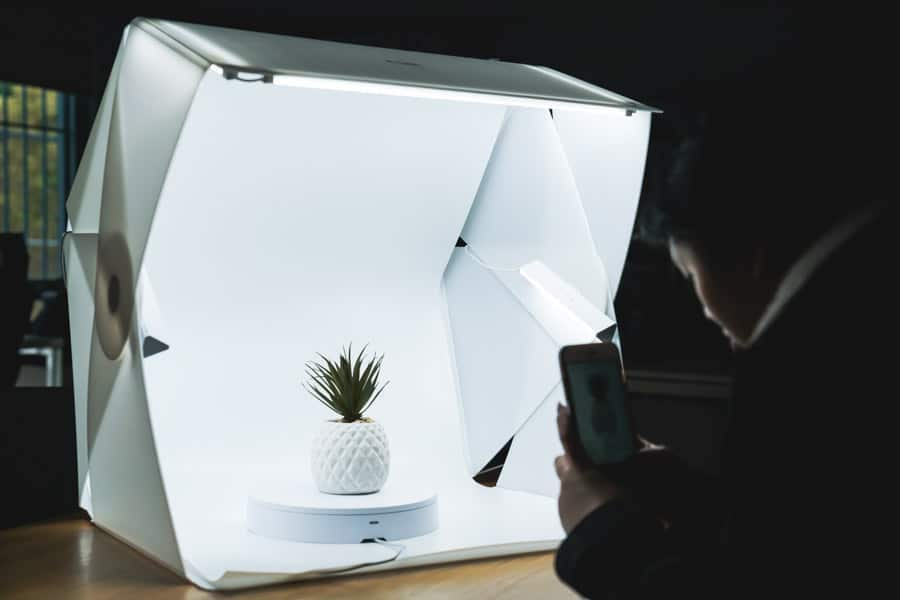 Photo of a lightbox being used to take a product picture.