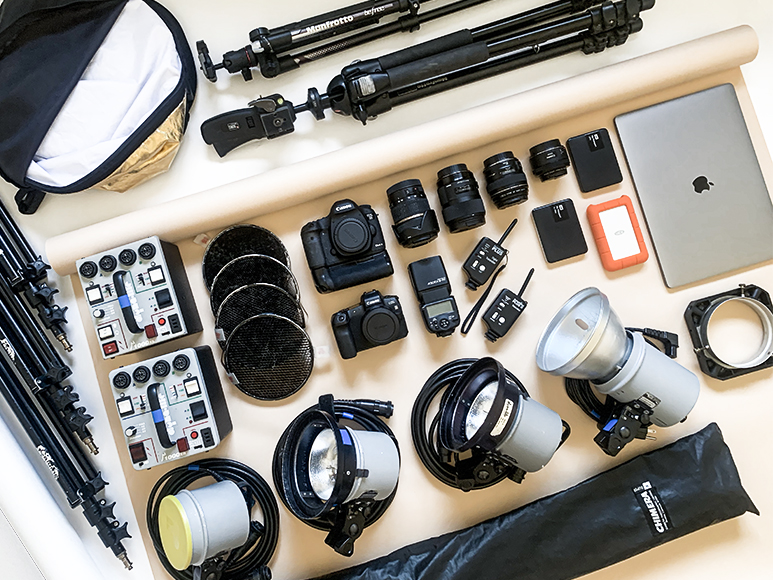 Product photography equipment: some product photographers prefer studio photography as a studio setup allows them to get the lighting right.