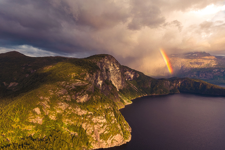 Spring photography photo of landscape and rainbow