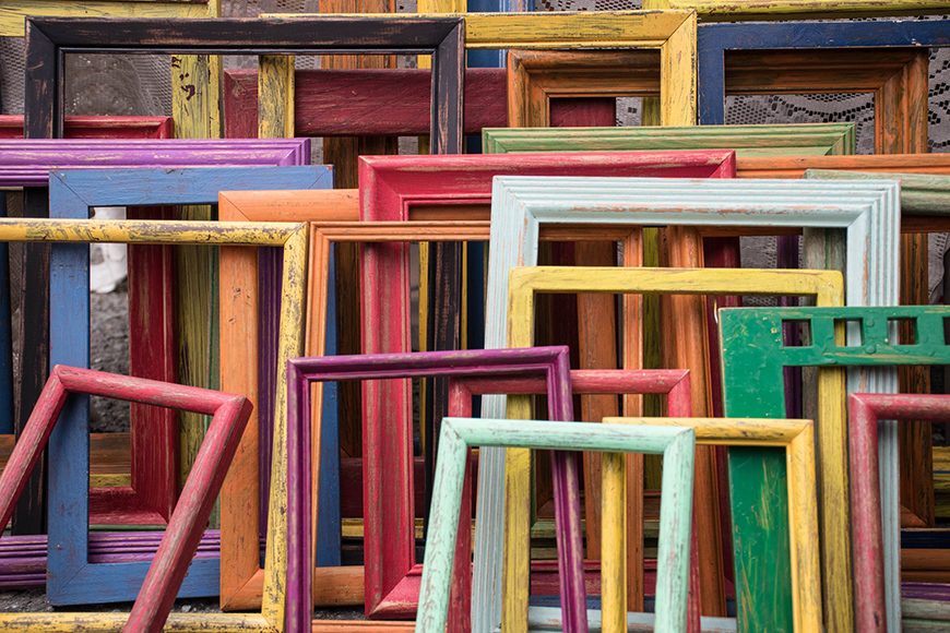 A group of colourful photo frames
