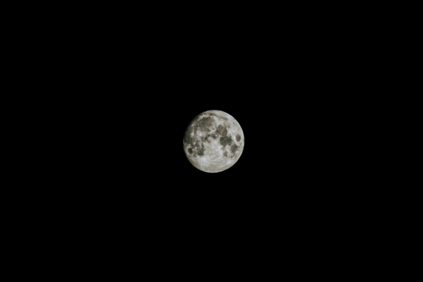 Using zoom focal lengths 70-200mm to photograph the moon.