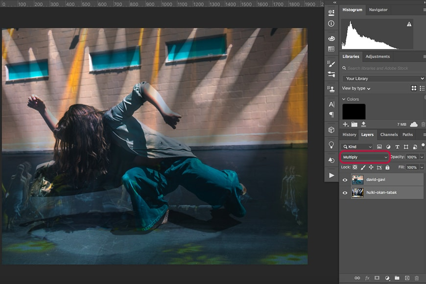 A screen shot showing how to do double exposure photography in Photoshop