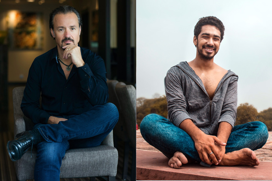 Get started with male models sitting cross legged for a photo