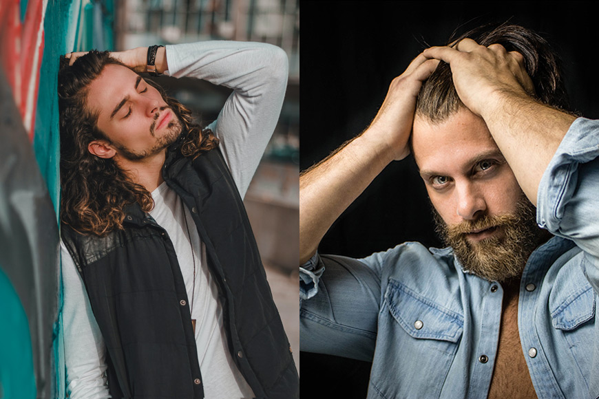 Photography - male model pose with hands in hair
