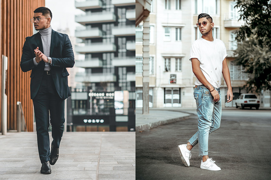 Male models walking while modelling
