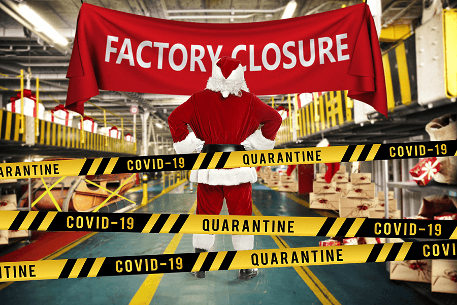 Santas workshop closed for business - with signs