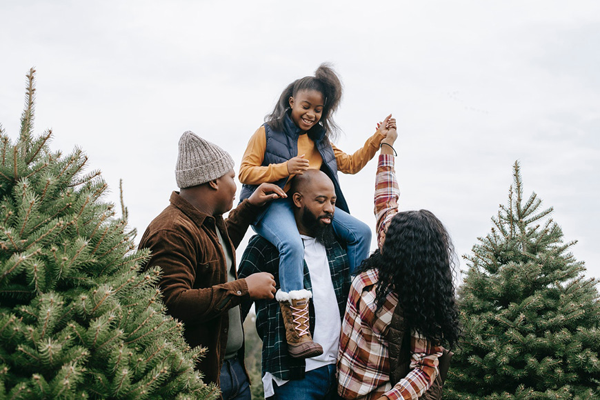 A family out to choose a tree for christmas