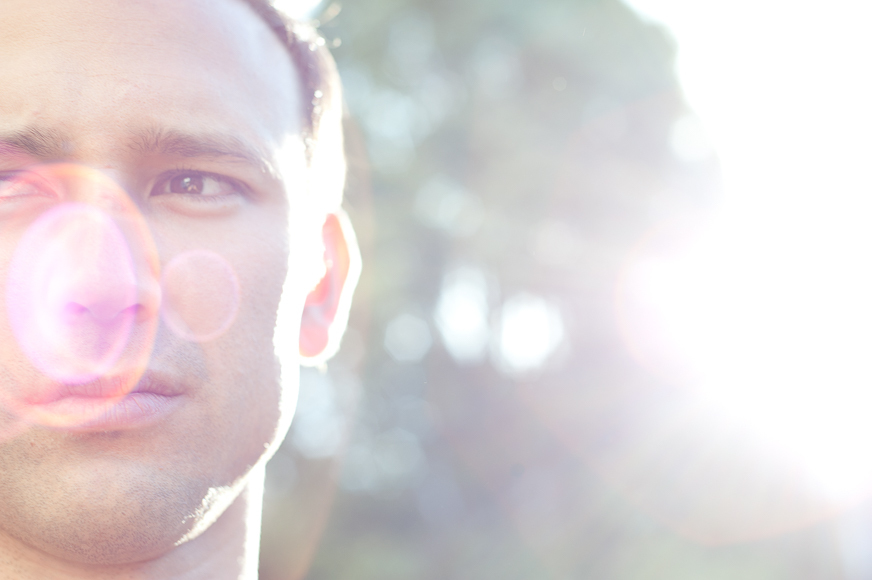 Flare effect on face in a portrait.