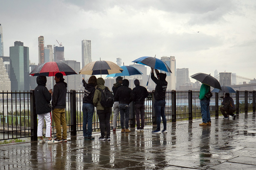 Sightseers on a rainy day