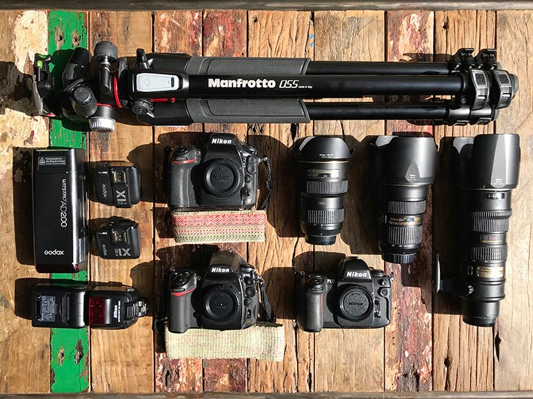 Camera gear flatlay of a real estate photographer.