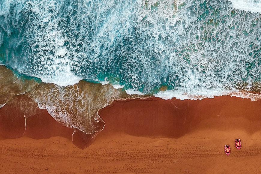 Beach scenes in aerial view.