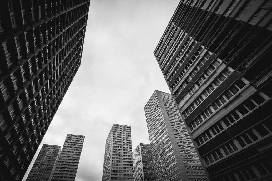 Black and white photo of city buildings