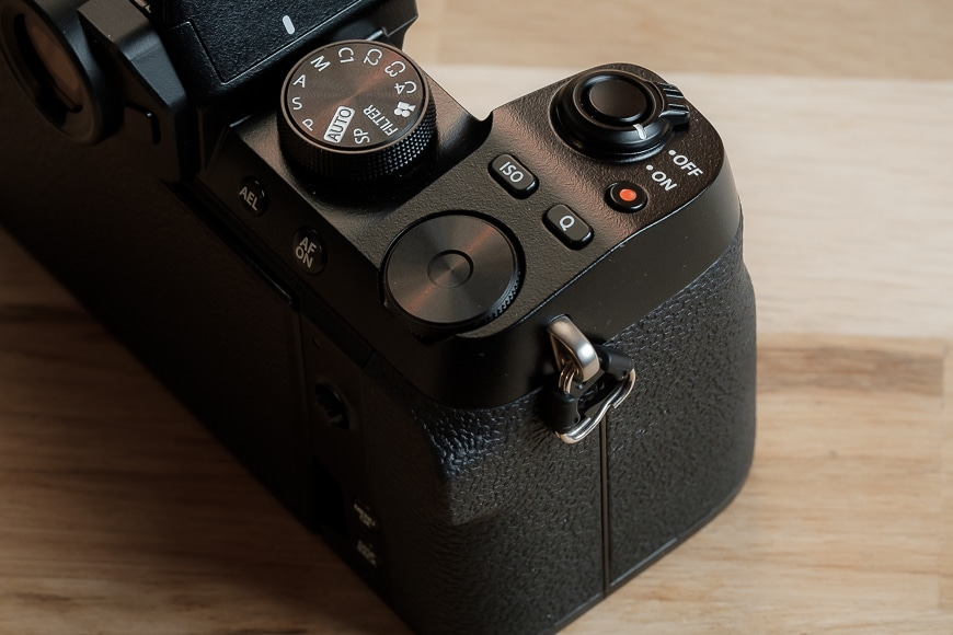 Close up of the grip on the Fujifilm X-S10