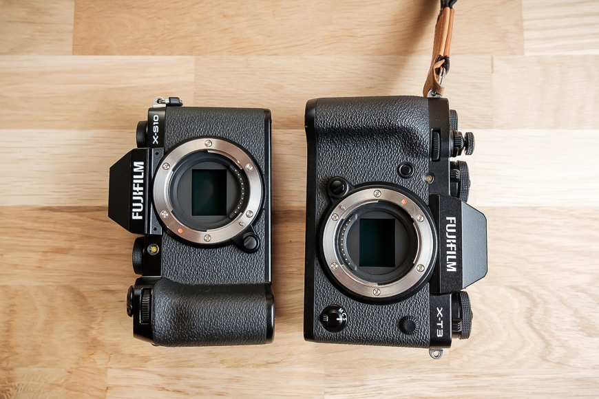 The Fujifilm X-S10 and X-T side by side