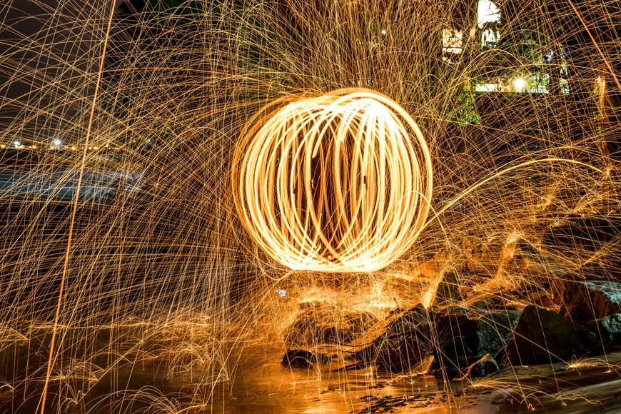 Mixing light sticks with steel wool photography creates amazing results