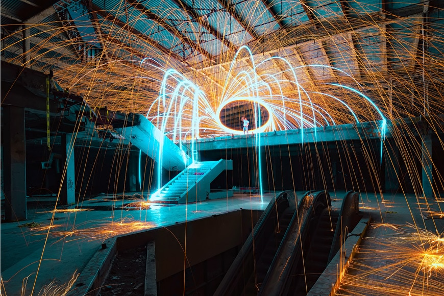 Light painting photography in a warehouse