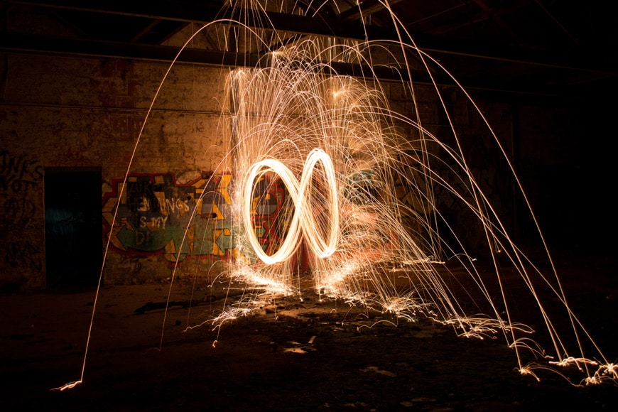 Shoot in raw when working with bright sparks