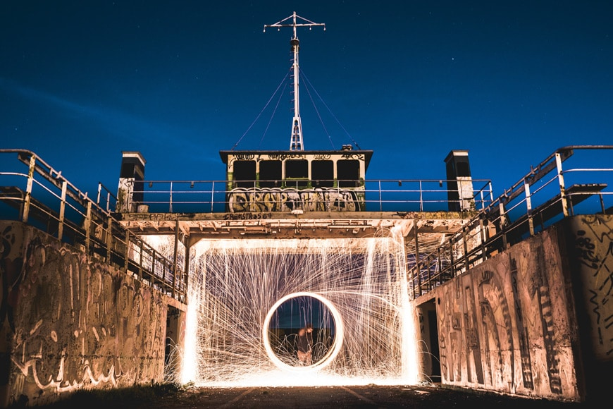 Steel wool photography around graffitied building