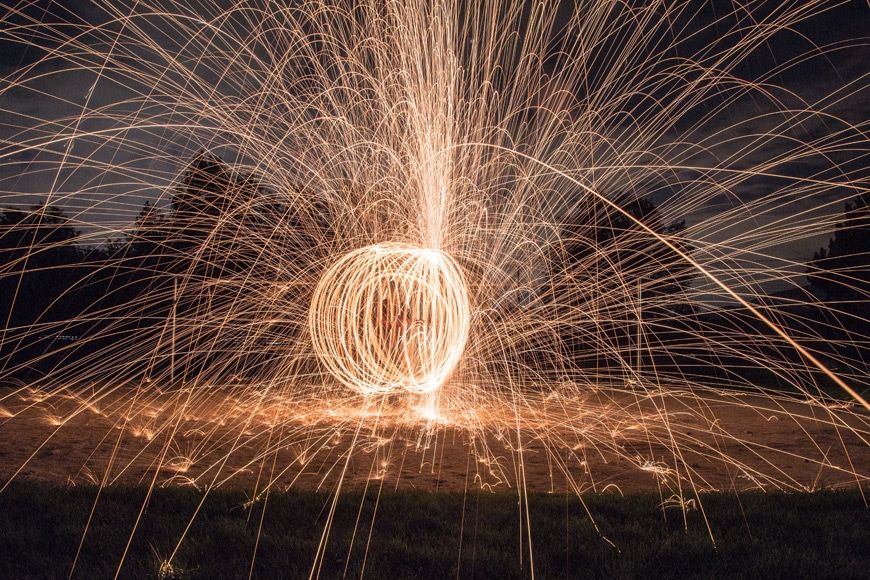 use a wide angle lens for steel wool photography