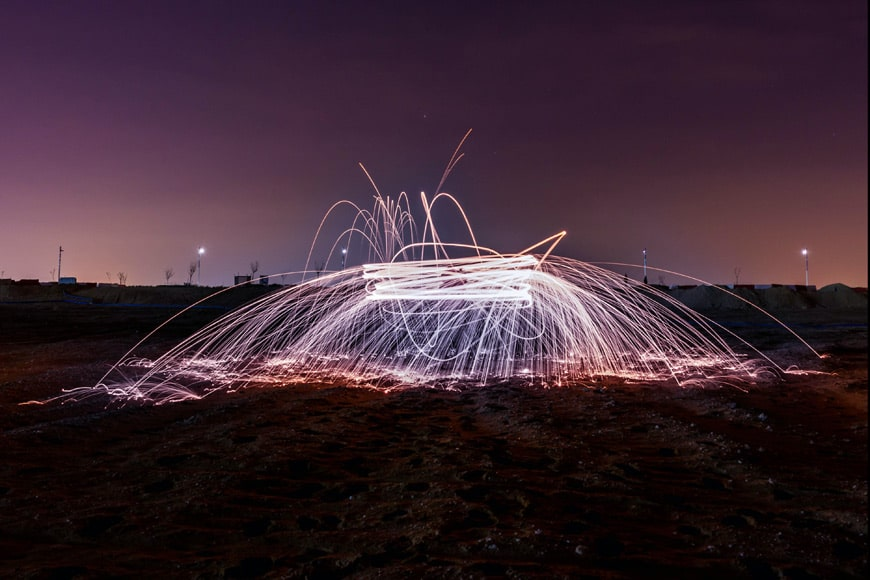 Using the zoom creates interesting elements in steel wool photography