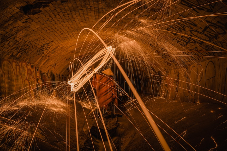 Dress appropriately when doing steel wool photography