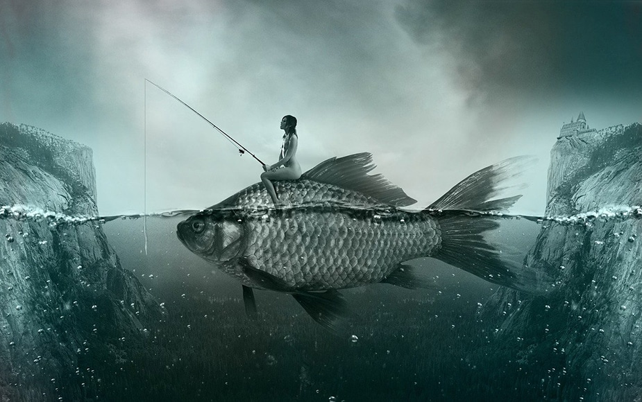 conceptual photo of woman sitting on fish