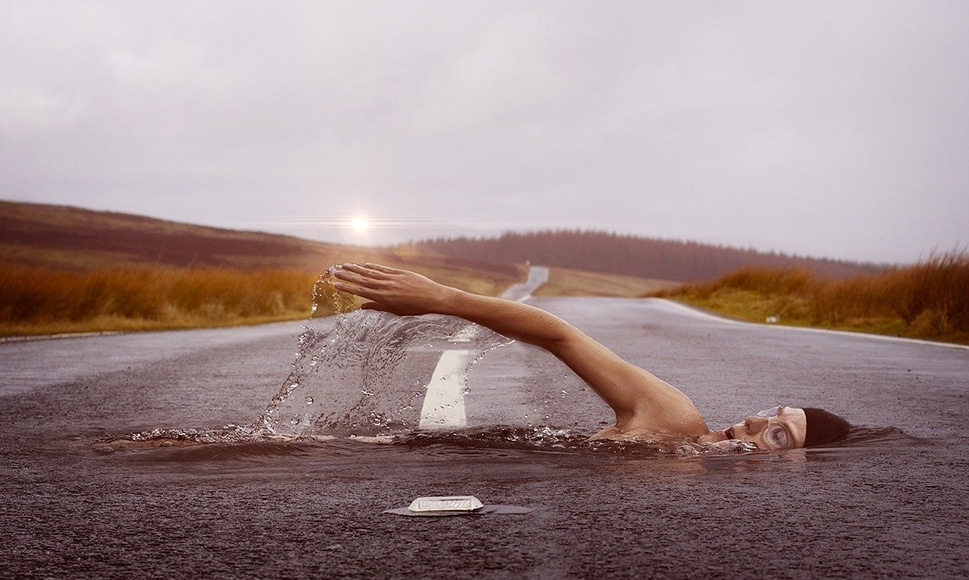 two part composite image of swimmer and road