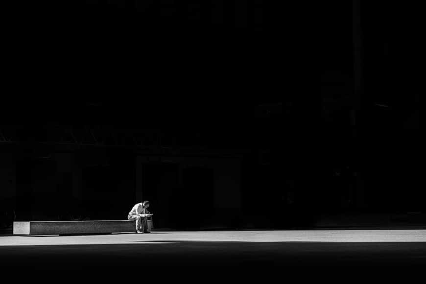 shadow and light with isolated man