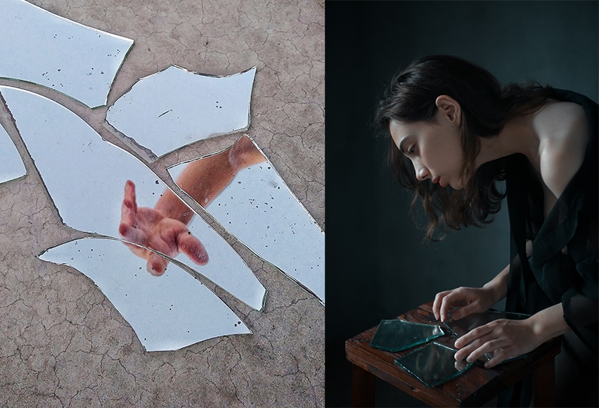 glass and mirror shards as symbolic imagery
