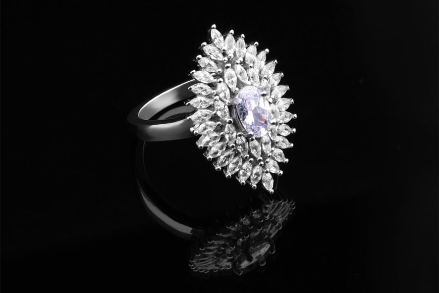 jewelry photography - a ring with multiple diamonds