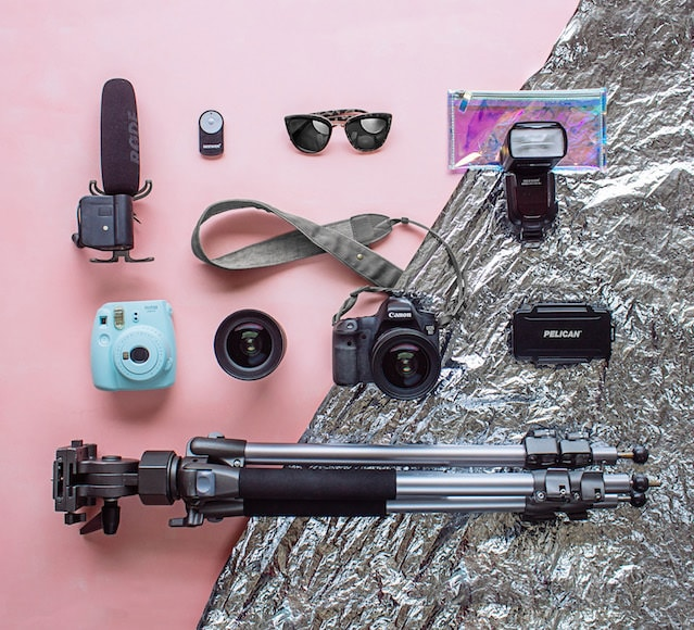 Gear shot of equipment used for lifestyle photography
