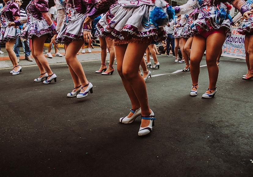 Girls' legs at a costume parade