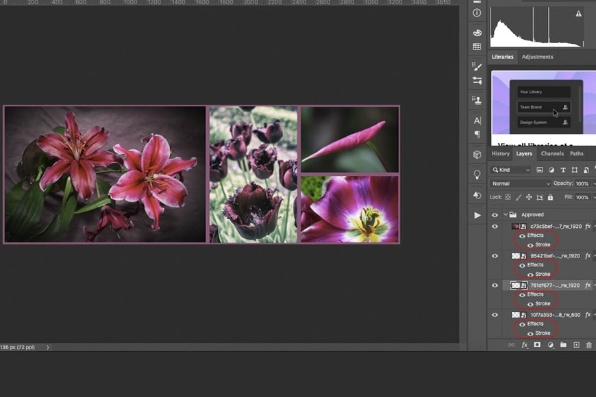 Adding borders to collage using Stroke effects