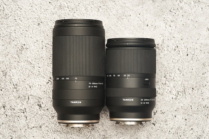 Side-by-side Tamron 70-300mm f/4.5-6.3 Di III RXD and Tamron 28-200mm f/2.8-5.6 Di III RXD