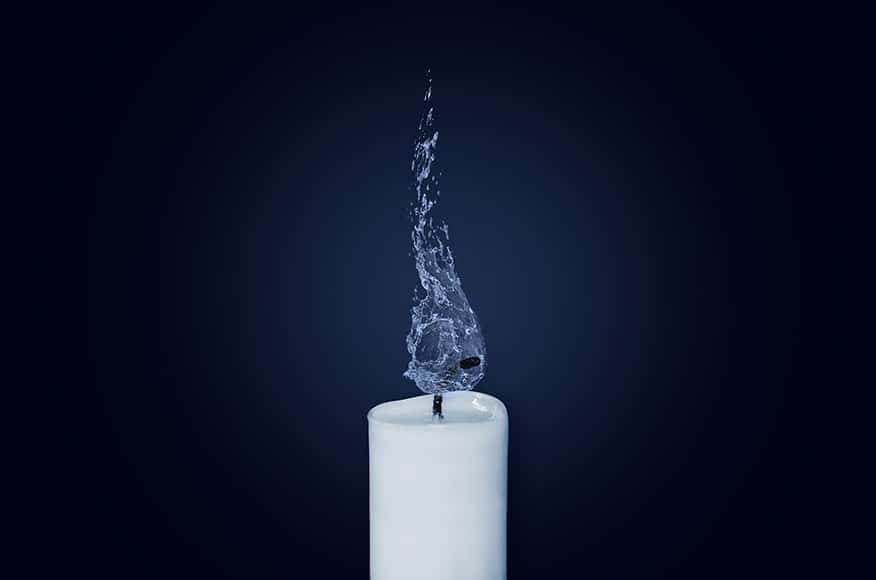 candle with water flame