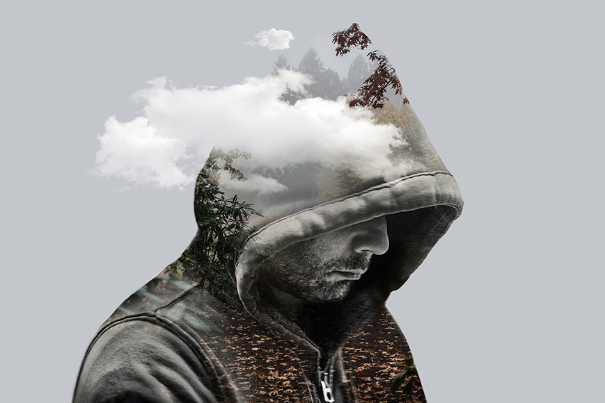 double exposure man with clouds