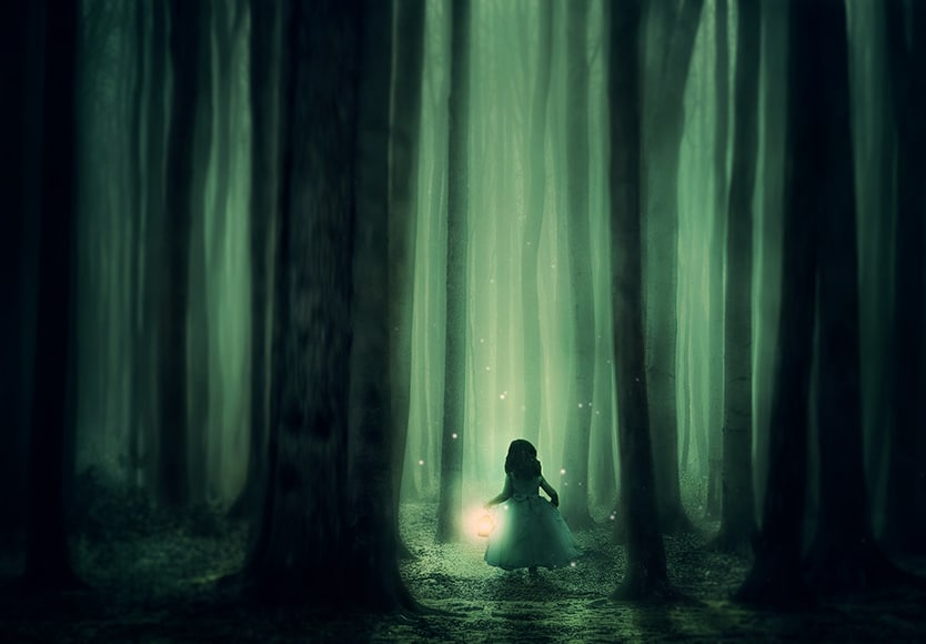 Child in enchanted forest