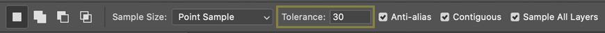 photoshop options bar selecting tolerance