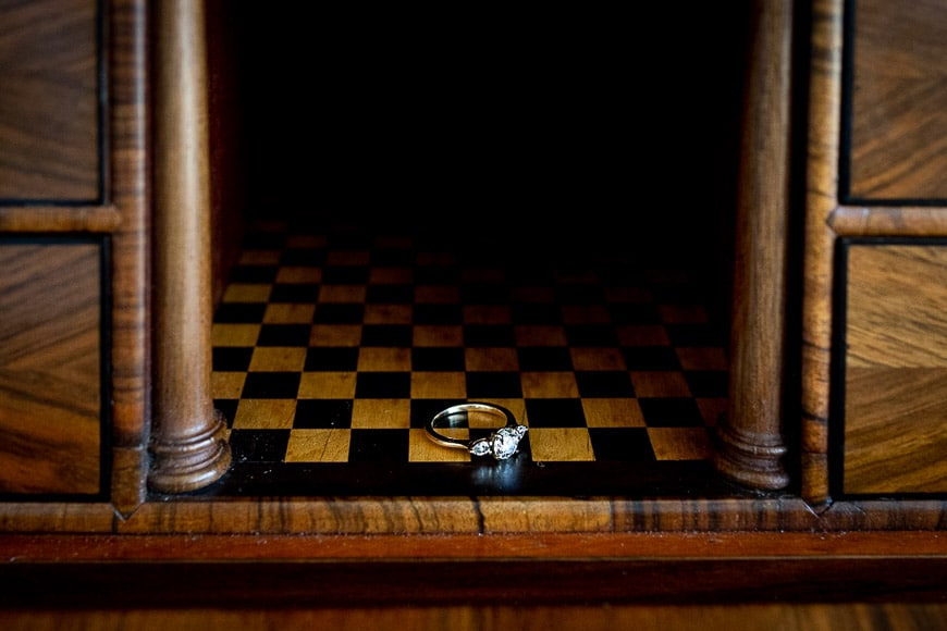 diamond engagement ring on chess board