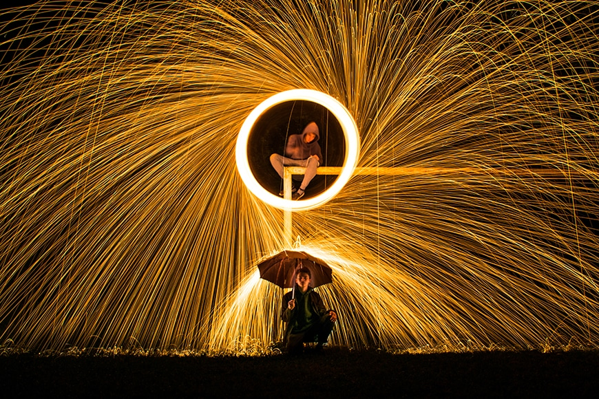 steel wool photography with umbrella
