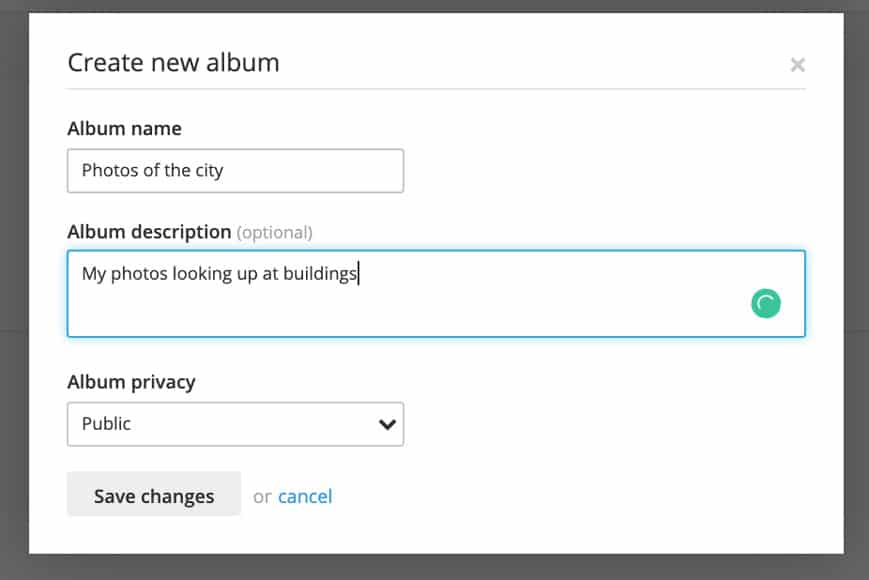 Screen shot showing how to create new album