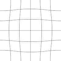 Grid lines showing moustache distortion