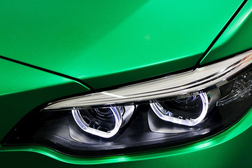 Up close details of headlights